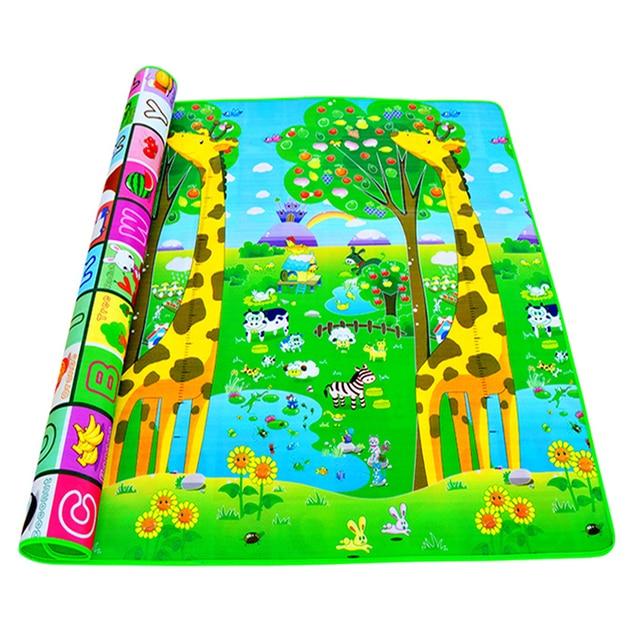 Alfombra de juego para gatear para bebés, 2x1,8 metros, letras de fruta de doble cara y juguetes para bebés de granja feliz