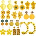 Gelb Farbe Nette Blume Ohrringe für Frauen Aussage Vintage Geometrische Runde Blatt Baumeln Ohrring 2021 Mädchen Mode Schmuck