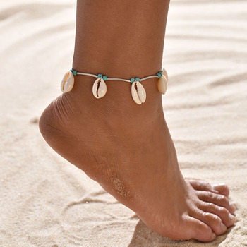 Turtle Shell Starfish Pendant Anklets Women Stone Beads Shell Anklet Bohemian Bracelets On Leg Beach Ocean Jewelry Drop Shipping 4