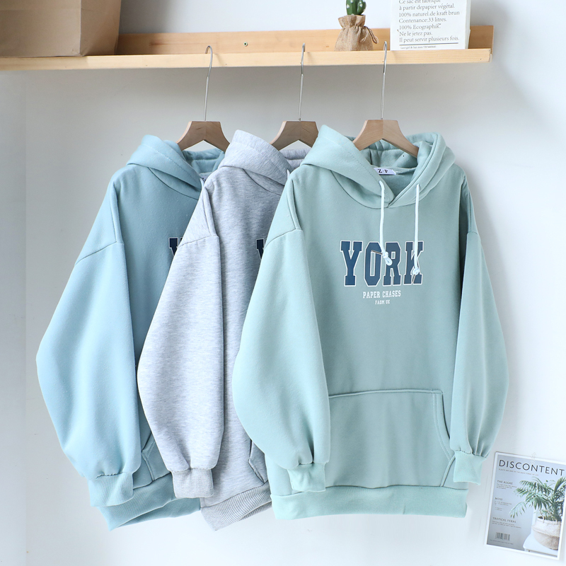 Autumn Winter BF Style Sweatshirt Women Harajuku Casual Oversize Long Sleeve Hooded Pullover Letter Print Thickening Tops