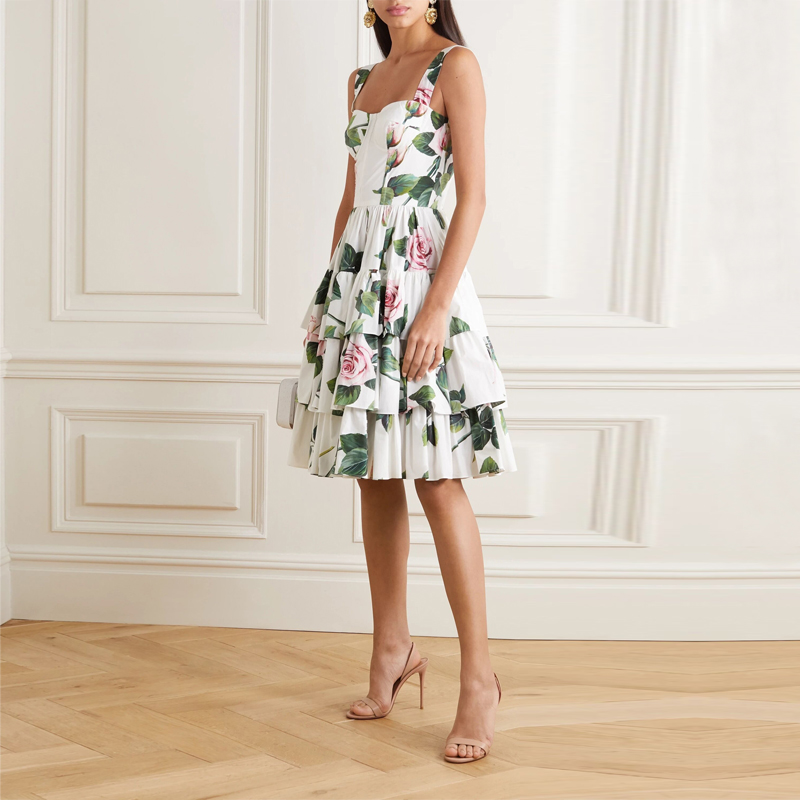 Elegant Layer Ruffles Floral Printed Midi <font><b>Dresses</b></font> For Women <font><b>Sexy</b></font> Spaghetti Strap <font><b>Backless</b></font> Pleated Summer <font><b>Dress</b></font> 2020 image
