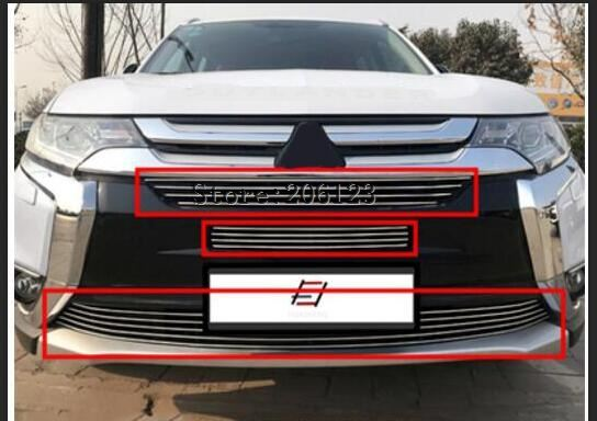 3 pcs stainless steel Front Grille Around Trim Racing Grills Trim For 2016 2017 for Mitsubishi Outlander