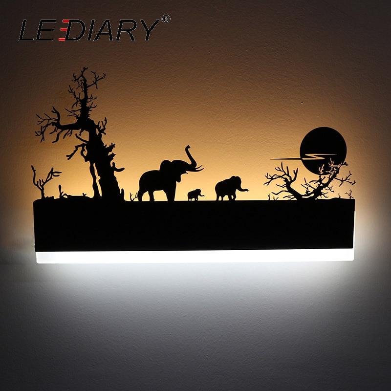 LEDIARY LED Romântico Lâmpada de Parede Arandela Criativo Pintura Moderna 110-240V Preto Decoração Para Casa de Banho Sala de Estar do Quarto Da Cama animais