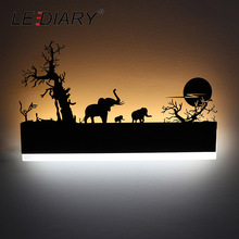LEDIARY Romantic LED Wall Lamp Creative Painting 110-240V Modern Black Sconce Decoration For Bathroom Living Bed Room Animal