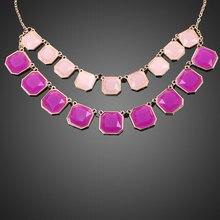 Модные ювелирные изделия ретро двойной слой фиолетовый розовый квадратный колье Золотая цепь