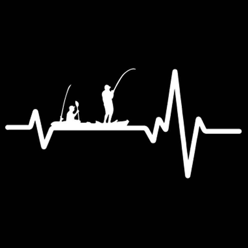 Aliauto Creatieve Auto Sticker Vinyl Heart Beat Lijn Vissen Kajak Vis Lijn Hengel Reel Pole Guys Accessoires Pvc Decal, 17 Cm * 8 Cm