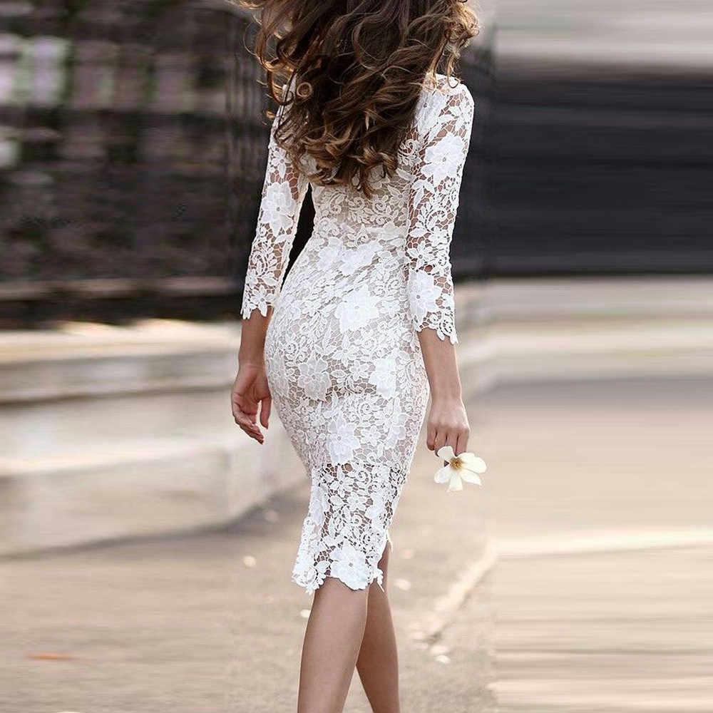Женское белое просвечивающее Кружевное облегающее платье с цветочным принтом для вечеринок и свиданий, офисные женские весенне-летние Базовые платья 906