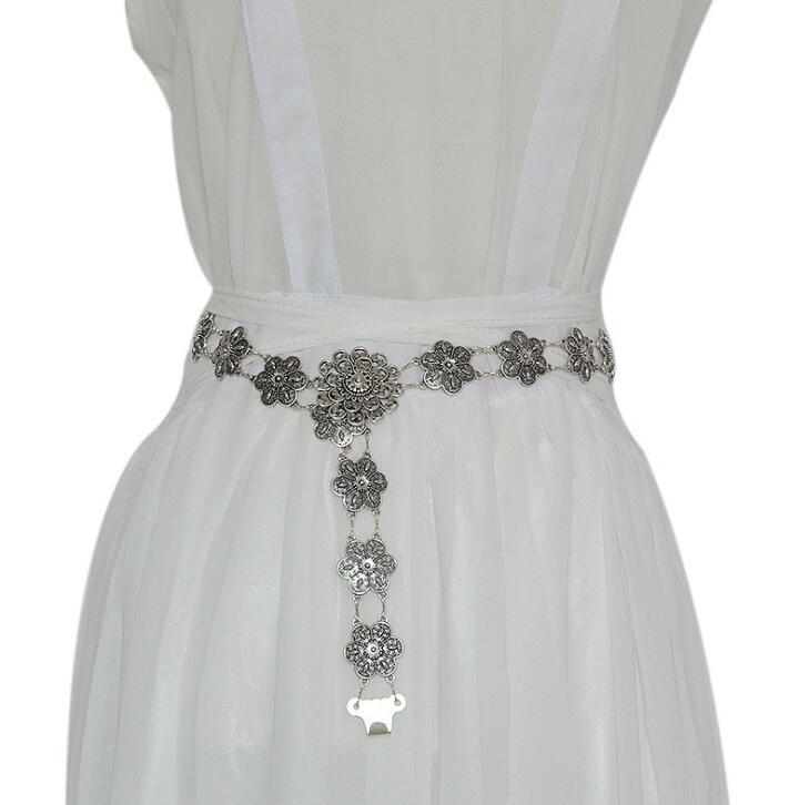 Women's Runway Fashion Vintage Metal Chain Cummerbunds Female Dress Corsets Waistband Belts Decoration Wide Belt R2530