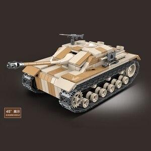 Image 5 - WW2 tanque de bloques de construcción militar de Alemania III, tanque militar de bloques, Arma de soldado del ejército, juego de ensamblaje para niños, juguetes para niños