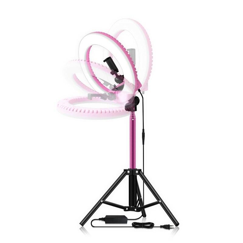 14 дюймовый Диммируемый 5500K светодиодный кольцевой светильник с 1,6 м штатив Трипод для студийной лампы фотографии YouTube фото макияж кольцевой ... - 4