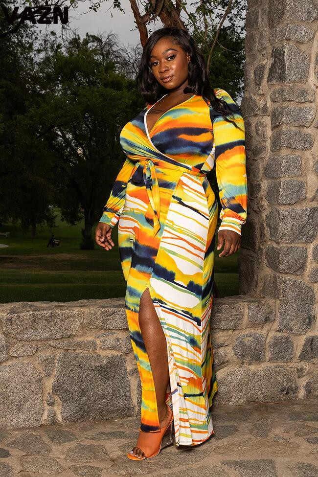 Vazn omf109 뉴 플러스 사이즈 인기있는 노란색 휴가 섹시한 무료 패션 전체 슬리브 레이스 조젯 여성 스트레이트 롱 드레스