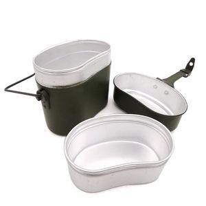 Image 2 - ドイツミリタリーグリーン3個で1キャンプ調理器具クックセットハイキングサバイバル弁当弁当箱ポット/ボウルwhosale & ドロップシップ