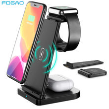 3 em 1 qi carregador sem fio para samsung s20 s10 iphone 12 11 xr xs x airpods pro apple assista se 6/5/4/3/2 15w estação de carga rápida