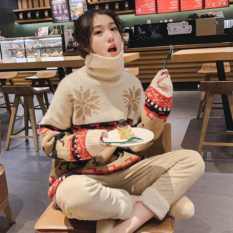 Рождественский свитер с воротником под горло для женщин зима