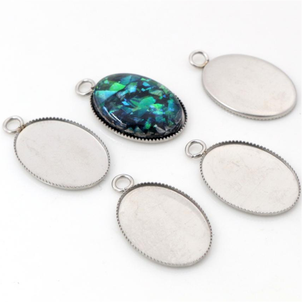 ( No Fade ) 20pcs 13x18mm Inner Size Stainless Steel Material Oval Style Cabochon Base Cameo Setting Pendant Tray -T6-46