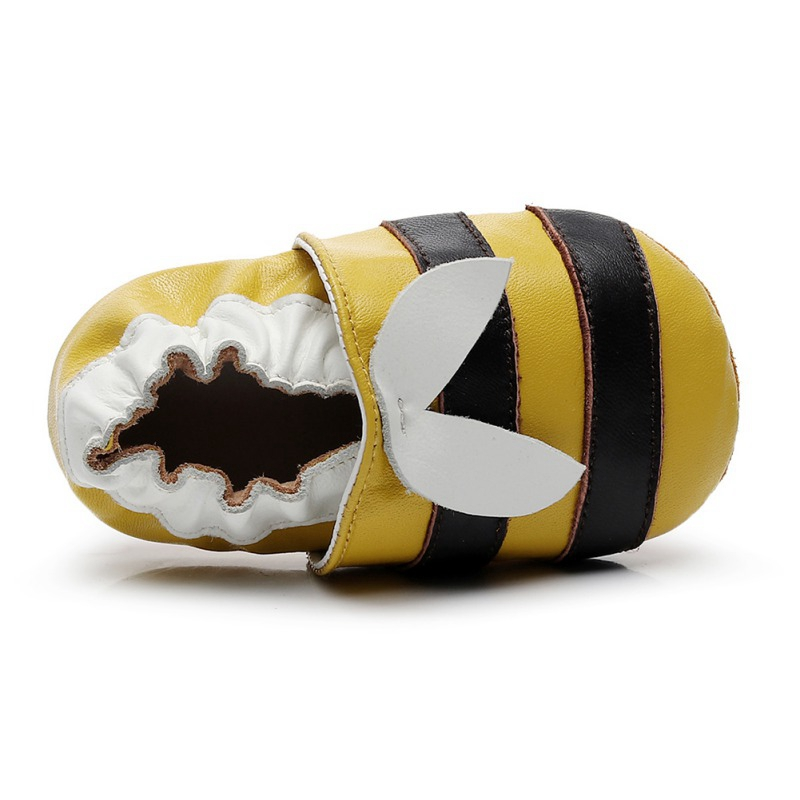 0-2T Newborn Baby Boy Girl Shoes Cute Little Bee Leather Stitching Baby Anti-slip On Shoes Toddler First Walkers 2019