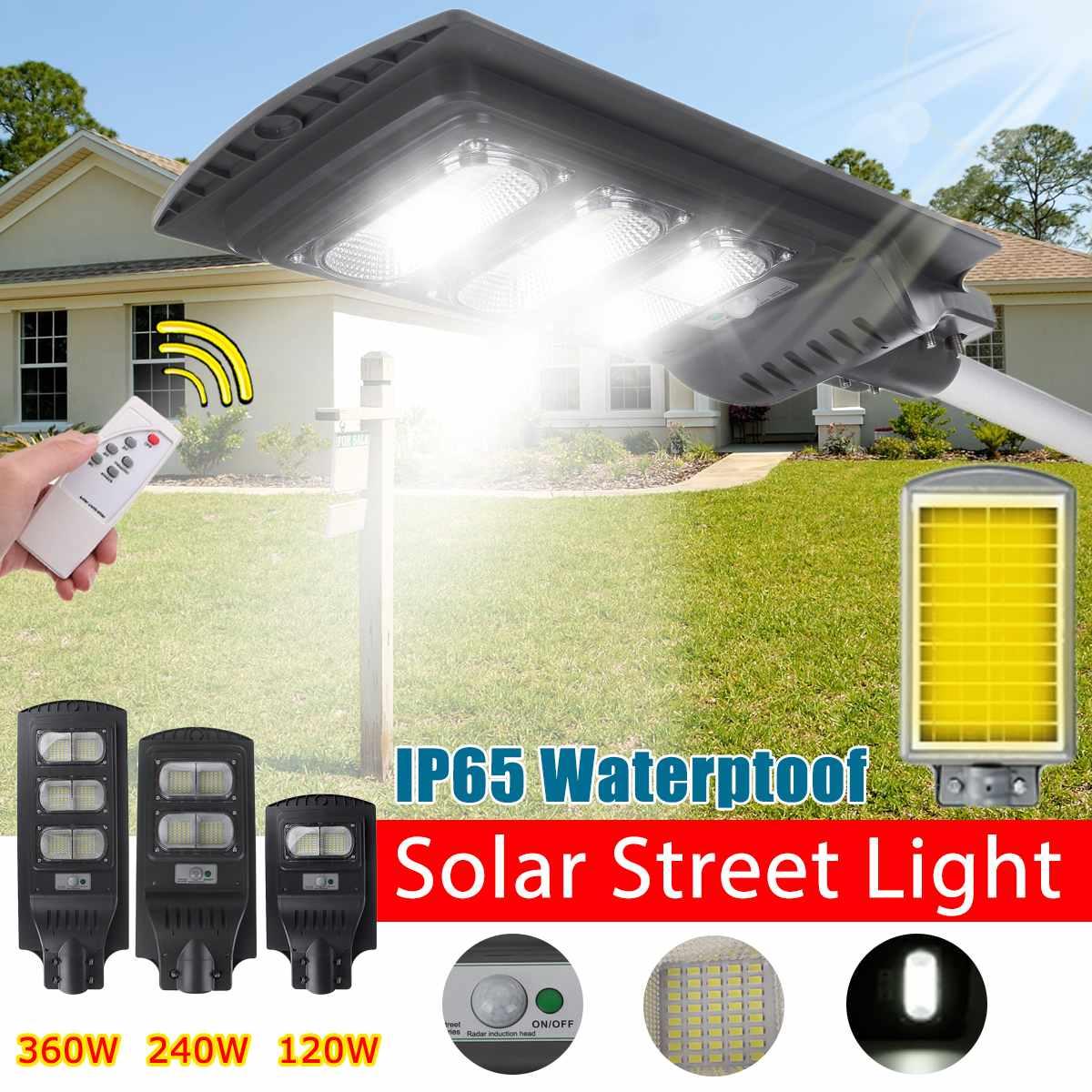 IP65 120 W/240 W/360 W Schwarz/Grau LED Außen Beleuchtung Wand Lampe Solar Straße Licht solar Powered Radar Motion Licht Steuerung