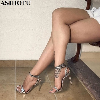 ASHIOFU Handmade Ladies High Heel Sandals Sexy Stripper Club Dance Shoes Large Size Dress Evening Fashion Sandals Shoes
