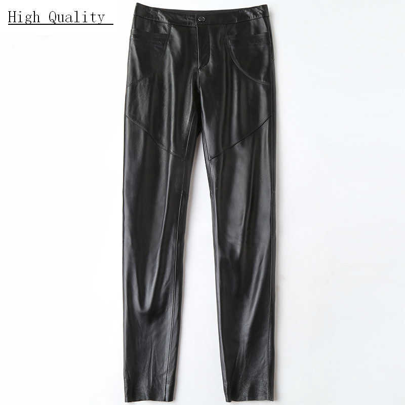 Lente Echt Lederen Broek Vrouwen Plus Size Zwarte Broek Echte Schapenvacht Zwarte Broek Casual Slanke Pantalon Femme LWL1608