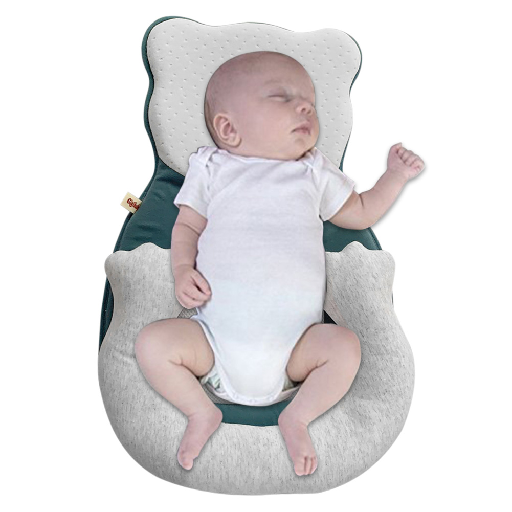 Cartoon Baby Head Shaping Pillow Portable Baby Cribs Anti Roll Memory Foam Sleeping Cushion Household Infants Sleep Care Props