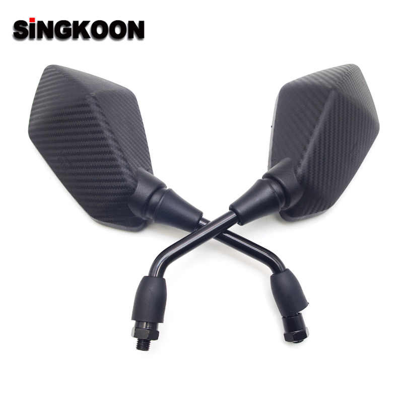 Carbon Color Universal 10mm Motorcycle Mirror Black Side Rearview Mirrors FOR Jawa 350 Honda Hornet 600 Cbr 954 Cb 400 Gn 125