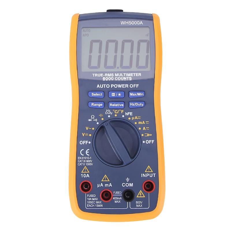 New WH5000A Magnet Digital Multimeter 5999 Counts Auto Range with Backlight Magnet Hang AC DC Ammeter Voltmeter Ohm Tester Meter