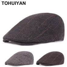 Newsboy-Caps Flat-Caps Boinas Baker Woolen Hat Retro Winter Women Classic for Thicken