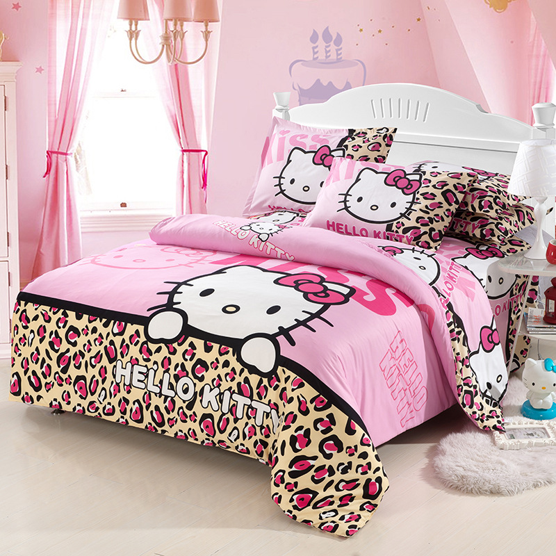 Home Textile Hello Kitty Bedding Set Cotton Bed Linen 3/4pcs Include Duvet Cover Bed Sheet Pillowcase Twin Full Queen Bedclothes