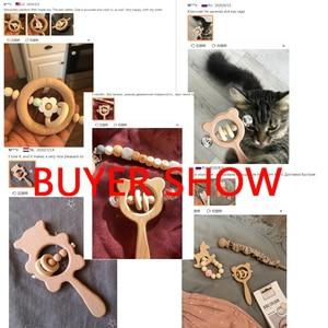 Image 5 - Lets make – Anneau de dentition en bois de hêtre pour bébé, hochet en forme dours, jouet pour enfant en bas âge, accessoire pour poussette, jouet éducatif montessori