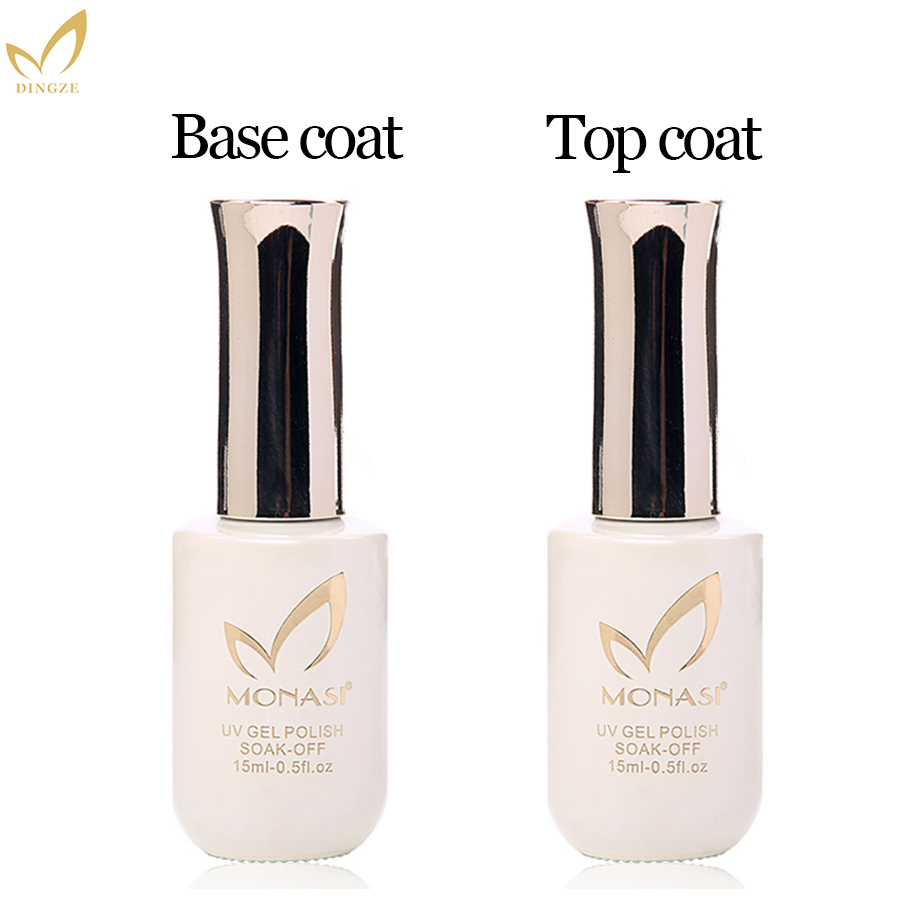 MONASI Top Quality Gel Varnish Rubber Thicker Base Coat Soak Off Long Lasting For Nails Marnicure No Wipe Top Coat
