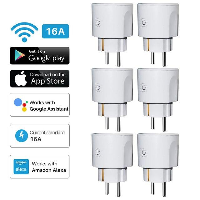 Smart WiFi Plug EU WiFi Socket 16A With Timing APP Control,Compatible Alexa Google Home Mini Voice Intelligent Control
