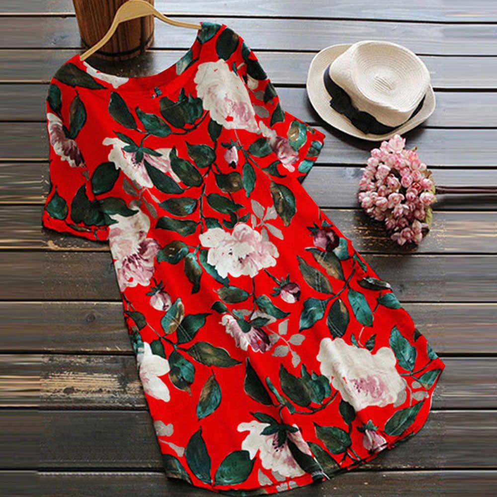 Moderno vestido de talla grande para mujer, Vestido corto Floral, informal, suelto, de lino, Vestidos de verano, vestido de fiesta de Noche, Vestidos de fiesta