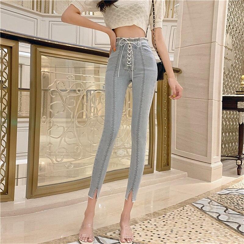 JUJULAND Women Plus Size Leggings High Elastic Waisted Workout Bandage Pocket Leggins Skinny Casual Female Jeans 9612