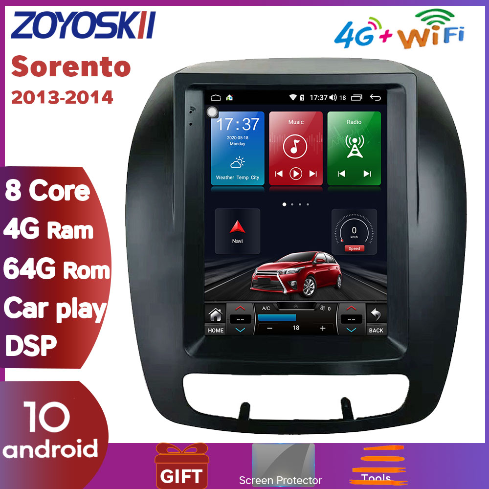 ZOYOSKII Android 10 10.4 vertical tesla style screen car gps multimedia radio bt navigation player for KIA Sorento 2013-2014 image
