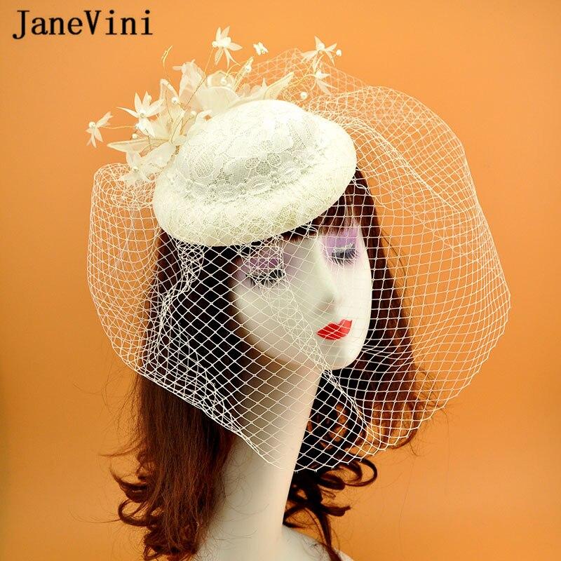 JaneVini Elegant Ivory Wedding Bride Hat Facinators for Women Flowers Beaded Lace Princess Hat Handmade Prom Party Accessories