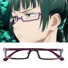 Jujutsu kaisen maki zenin cosplay óculos roxo metade do quadro óculos sem lente anime traje adereços acessórios