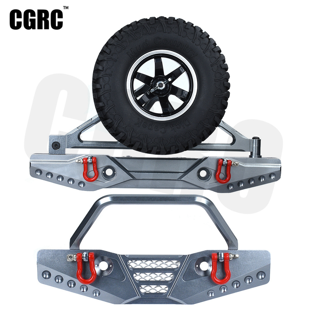RC Car Metal Front Rear Bumpers With Spare Tire Bracket For 1/10 RC Crawler Axial Scx10