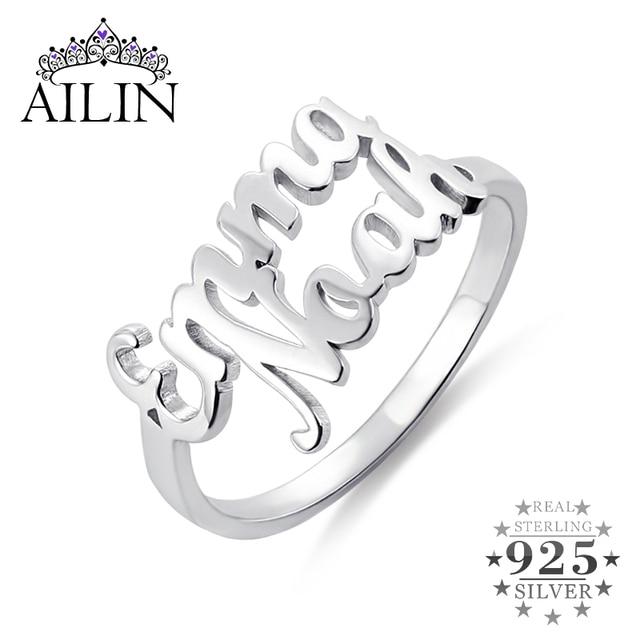 AILIN 925 srebro pierścionki 18K-gold Plated para miłośników niestandardowe dwie nazwy obrączki dla kobiet dostosowane biżuteria prezent