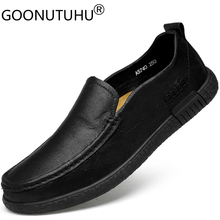 Men's casual shoes leather genuine cow slip-on loafers male hollow black or brown breathable flats shoes for men big size 37-46 new men genuine leather party dress shoes breathable fashion wedding casual male flats cow leather split loafers soft black