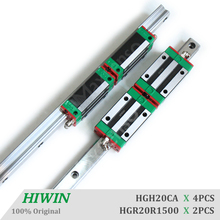 HIWIN HGR20 Length 1500mm HGH20CA Linear Guide Rail and Blocks Carriage Linear Guideways Machine Center CNC with High Quality 100% original hiwin 2 pcs hiwin linear guide hgr20 750mm linear rail with 4 pcs hgh20ca linear bearing blocks for cnc parts