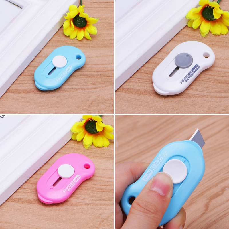 Cute Solid Color Mini Portable Utility Knife Paper Cutter Office Stationery