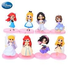 8pcs/set Disney Princess Wedding Edition Princess Pink Base Hand Doll Sophia Mermaid Snow White Children's Doll Toys princess poppy mermaid princess