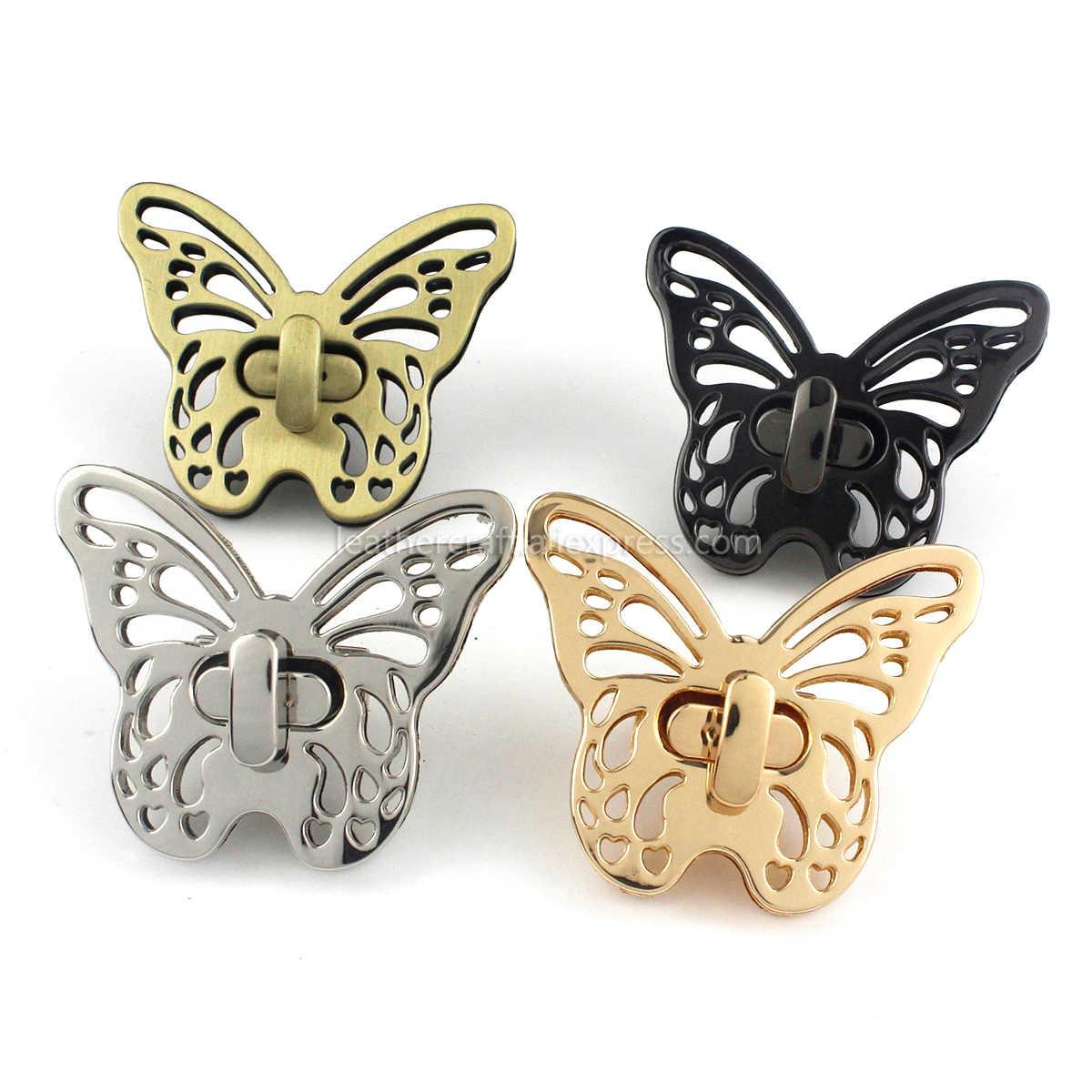 Butterfly Twist Turn Lock Bag Hardware Gold Silver Gunmetal Bronze 220 pcs Handmade Purse Handbag Making Metal 50 35mm 2 1 38 Supplies