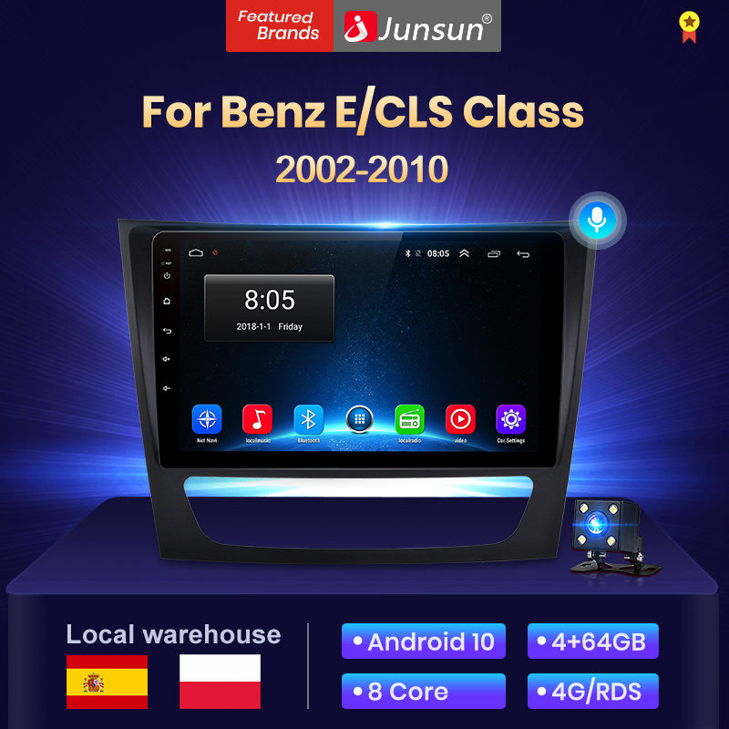 Junsun 4 + 64G Android 10 9 pulgadas radio coche con auto pantalla para Mercedes Benz Clase E W211 CLS 300 500E-Klasse 2002-2010 Multimedia  altavoces con bluetooth/android auto /carplay/ NO cd /navegador gps coche