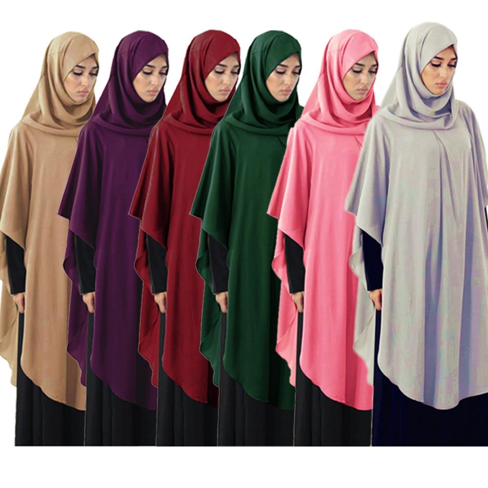 Muslim Women Prayer Garment Tops Loose Worship Service Hooded Kaftan Shawl Overhead Khimar Burka Turkish Middle East Plain Robe