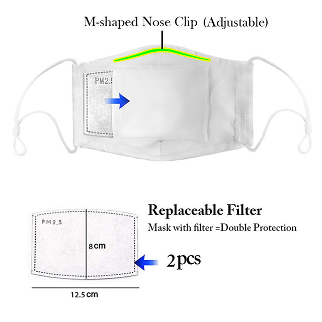 Fashion Reusable Protective PM2.5 Filter Printing mouth Mask anti dust Face mask Windproof Mouth-muffle bacteria proof Flu Mask 2