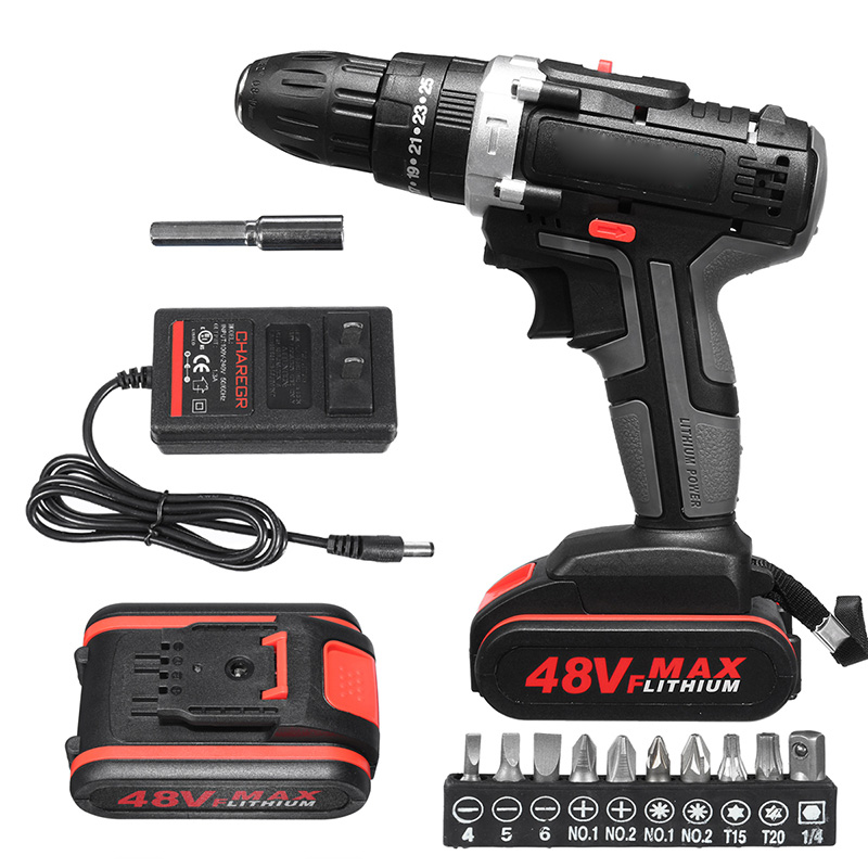 48V Electric Hammer Drill Cordless Drill Woodworking Tool Rechargeable Woodworking Drills --M25
