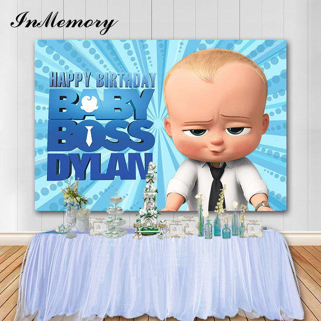 InMemory Blue Theme Baby Boss Photography Backdrop Baby Shower 1st Birthday Party Backdrop For Photo Studio Vinyl Photocall
