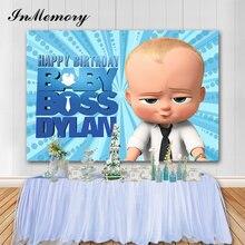 InMemory niebieski motyw Baby Boss fotografia tło Baby Shower 1 urodziny tło imprezowe dla Photo Studio Vinyl Photocall