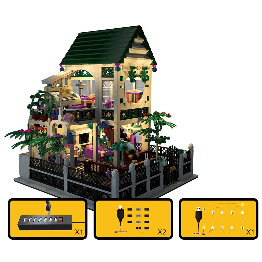 MOC City Series Toy 1500Pcs DIY Romantic Cottage Kits Dollhouse Building Blocks House Model With Light Educational Kits For 8+